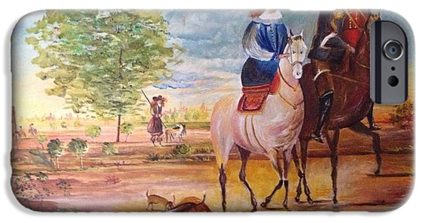 Dog In Landscape iPhone Cases - Nobel  Knight and Lady iPhone Case by Egidio Graziani