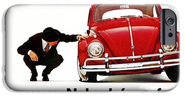Volks iPhone Cases - Nobodys Perfect - Volkswagen Beetle Ad iPhone Case by Nomad Art And  Design