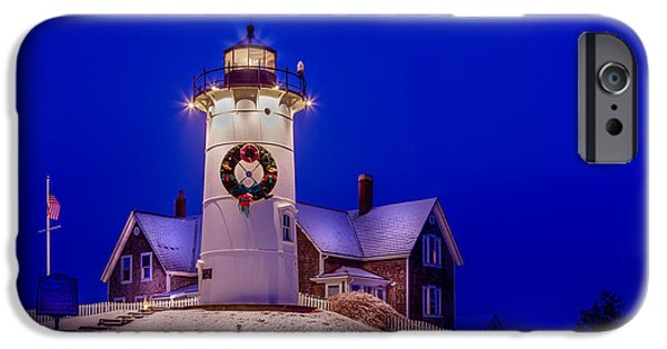 Cape Cod Mixed Media iPhone Cases - Nobska At Christmas iPhone Case by Michael Petrizzo