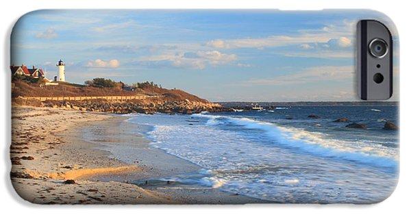 Massachusetts Coast iPhone Cases - Nobska Lighthouse and Nobska Beach Cape Cod iPhone Case by John Burk