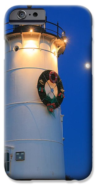 New England Lighthouse iPhone Cases - Nobska Lighthouse Holiday Moon Cape Cod iPhone Case by John Burk