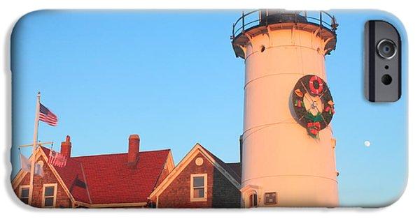 Massachusetts Coast iPhone Cases - Nobska Lighthouse Holiday Wreath and Moon iPhone Case by John Burk