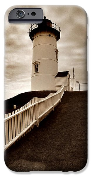Cape Cod Landscapes iPhone Cases - Nobska Lighthouse iPhone Case by Skip Willits