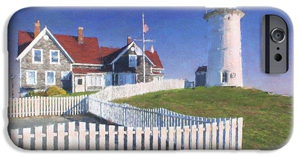 New England Lighthouse Mixed Media iPhone Cases - Nobska Point Lighthouse iPhone Case by Jean-Pierre Ducondi