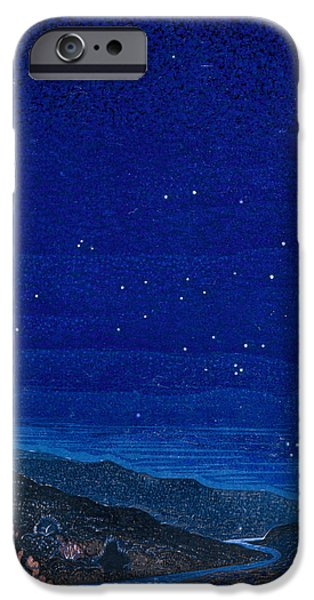 Landscapes Drawings iPhone Cases - Nocturnal landscape iPhone Case by Francois-Louis Schmied
