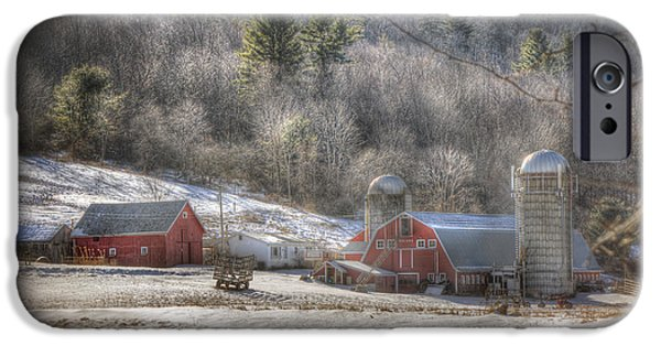 Red Barn In Winter Photographs iPhone Cases - Nolan Farm - Vermont Farm iPhone Case by Joann Vitali