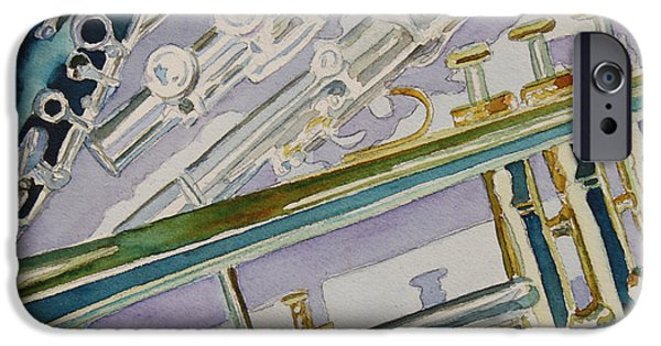 Trumpet Paintings iPhone Cases - Noon Trio iPhone Case by Jenny Armitage