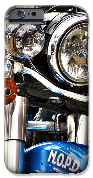 Police Officer iPhone Cases - NOPD Motorcycle iPhone Case by Eugene Campbell