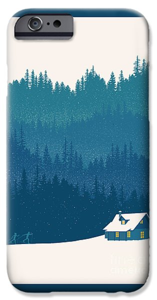 Skiing Posters Paintings iPhone Cases - Nordic Ski Scene iPhone Case by Sassan Filsoof