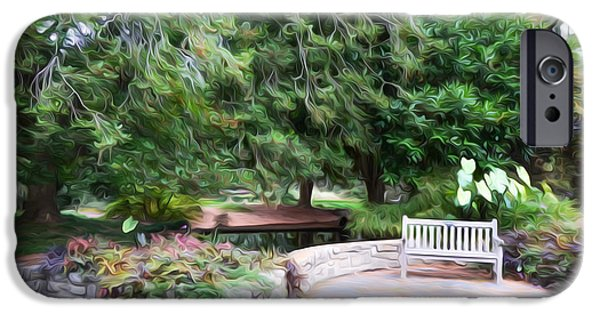 Garden Scene Paintings iPhone Cases - Norfolk Botanical Garden 1 iPhone Case by Lanjee Chee