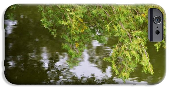 Garden Scene Paintings iPhone Cases - Norfolk Botanical Gardens Canal 6 iPhone Case by Lanjee Chee