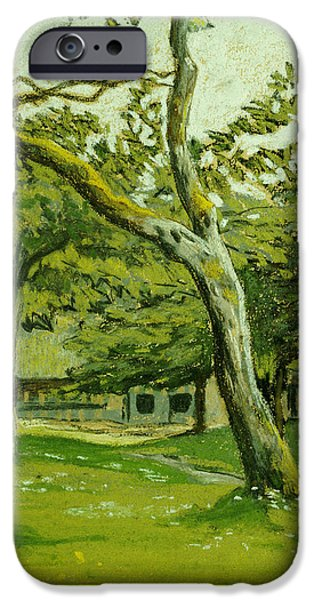 Nature Pastels iPhone Cases - Normandy Farm under the Trees iPhone Case by Claude Monet