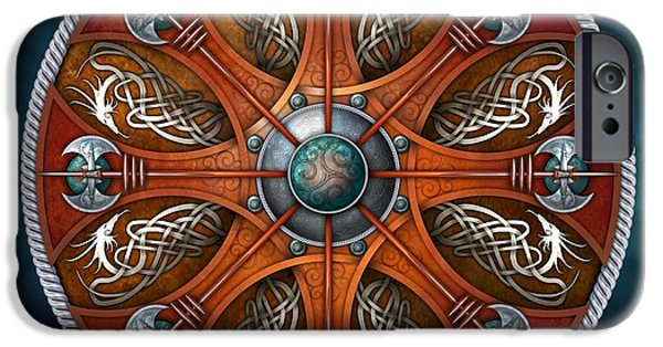 Celtic Knotwork iPhone Cases - Norse Aegishjalmur Shield iPhone Case by Richard Barnes
