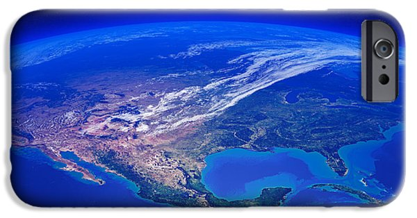 View Digital Art iPhone Cases - North America seen from space iPhone Case by Johan Swanepoel