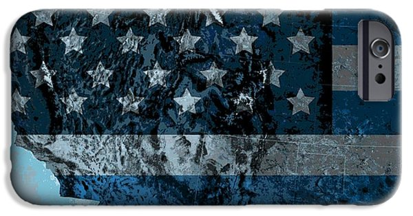 Red White And Blue Digital iPhone Cases - North America Topography Map iPhone Case by Dan Sproul