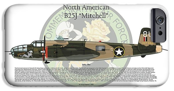 North American B-25j Mitchell iPhone Cases - North American B-25J Mitchell iPhone Case by Arthur Eggers