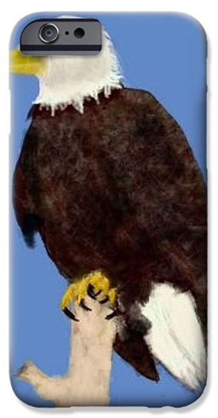 American Eagle Pastels iPhone Cases - North American Bald Eagle iPhone Case by Renee Michelle Wenker