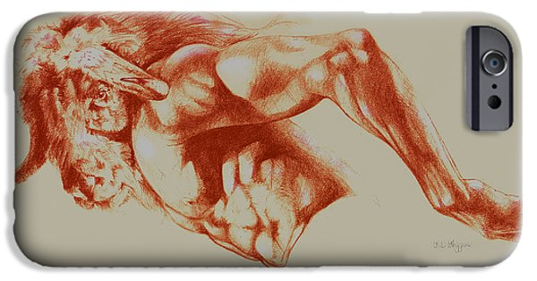 Crayons Drawings iPhone Cases - North American Minotaur red sketch iPhone Case by Derrick Higgins