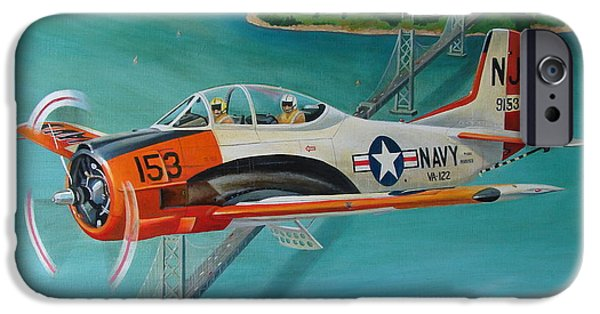 Bay Bridge iPhone Cases - North American T-28 Trainer iPhone Case by Stuart Swartz