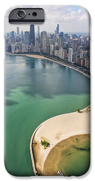 Lake Shore Drive iPhone Cases - North Avenue Beach Chicago Aerial iPhone Case by Adam Romanowicz