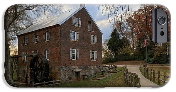 Grist Mill iPhone Cases - North Carolina 1823 Grist Mill Panorama iPhone Case by Adam Jewell