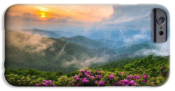 Clouds iPhone Cases - North Carolina Blue Ridge Parkway Spring Appalachian Mountains NC iPhone Case by Dave Allen