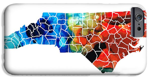 Bobcats iPhone Cases - North Carolina - Colorful Wall Map by Sharon Cummings iPhone Case by Sharon Cummings