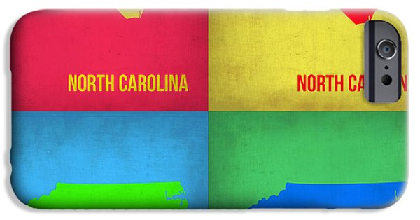 Home iPhone Cases - North Carolina Pop Art Map 1 iPhone Case by Naxart Studio