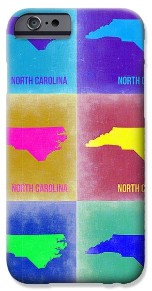 North Carolina iPhone Cases - North Carolina Pop Art Map 2 iPhone Case by Naxart Studio