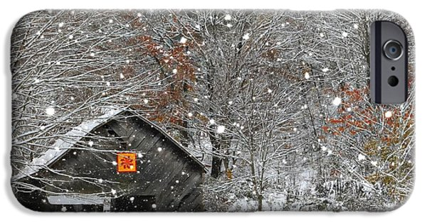 Barns In Snow iPhone Cases - North Carolina Quilt Barn iPhone Case by Benanne Stiens