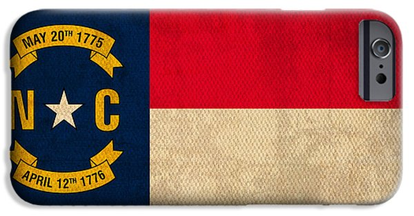 Asheville iPhone Cases - North Carolina State Flag Art on Worn Canvas iPhone Case by Design Turnpike