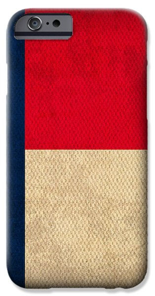 North Carolina State Flag Art on Worn Canvas iPhone Case by Design Turnpike