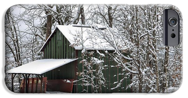 Red Barn In Winter Photographs iPhone Cases - North Carolina Tobacco Barn iPhone Case by Benanne Stiens