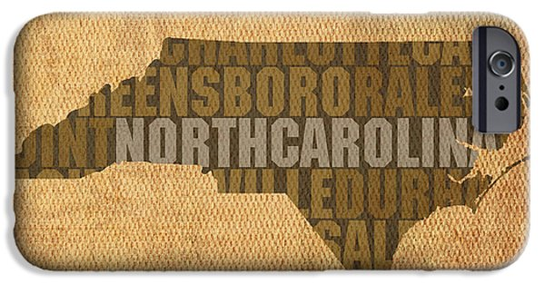 Words On Art iPhone Cases - North Carolina Word Art State Map on Canvas iPhone Case by Design Turnpike