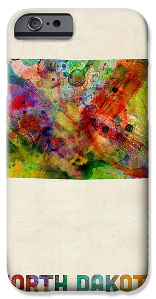 North Dakota Watercolor Map iPhone Case by Michael Tompsett