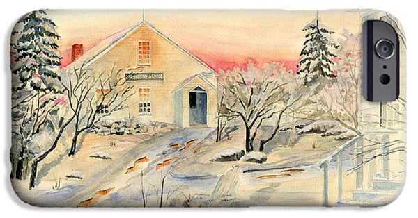 Winter In Maine iPhone Cases - North End in Snow iPhone Case by Melly Terpening