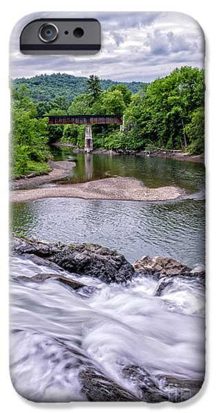 Covered Bridge iPhone Cases - North Hartland Vermont Swimming Hole iPhone Case by Edward Fielding