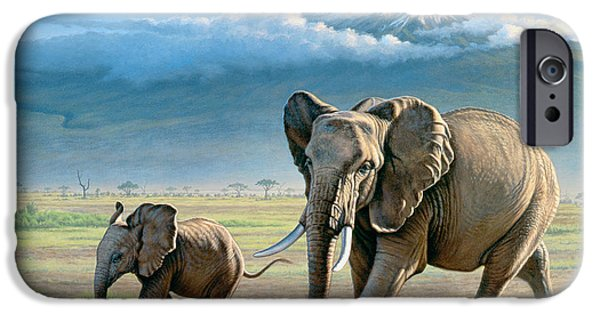 Elephants iPhone Cases - North Of Kilimanjaro  iPhone Case by Paul Krapf