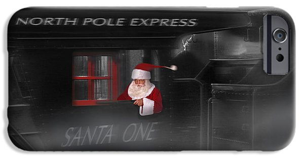 Santa Digital iPhone Cases - North Pole Express iPhone Case by Mike McGlothlen