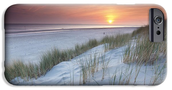 North Sea iPhone Cases - North Sea Sunset From The Dunes Of iPhone Case by Johan van der Wielen