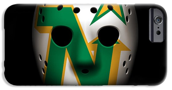 Minnesota iPhone Cases - North Stars Goalie Mask iPhone Case by Joe Hamilton