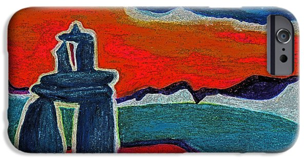 Jrr Pastels iPhone Cases - North Story Inukshuk by jrr iPhone Case by First Star Art
