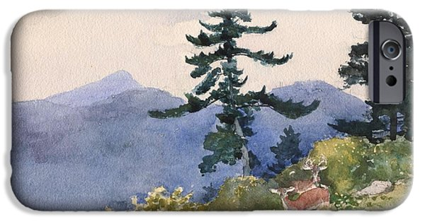 Beach Landscape Drawings iPhone Cases - North Woods Club iPhone Case by Winslow Homer