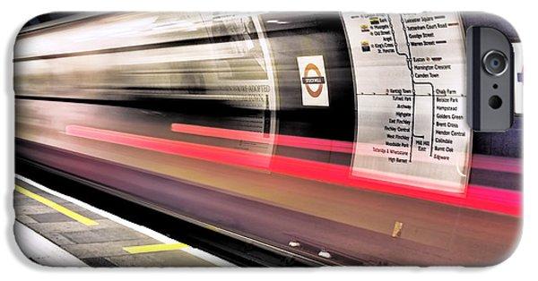 Subways iPhone Cases - Northbound Underground iPhone Case by Rona Black