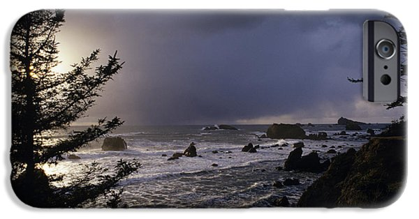 Sun Breaking Through Clouds iPhone Cases - Northern California Coastline iPhone Case by Jim Corwin