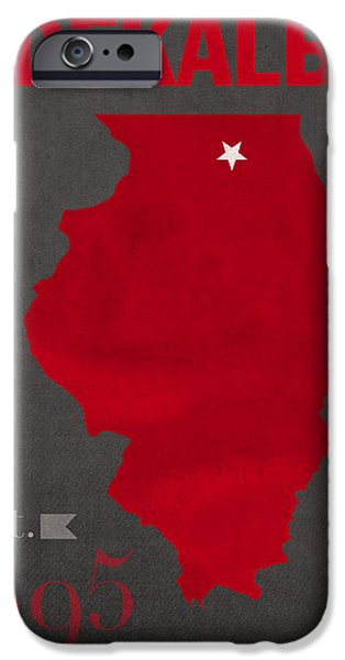 Husky iPhone Cases - Northern Illinois University Huskies DeKalb Illinois College Town State Map Poster Series No 079 iPhone Case by Design Turnpike