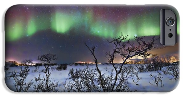 3.14 iPhone Cases - Northern Lights - creative editing iPhone Case by Frank Olsen