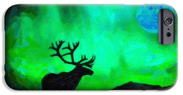 Northern Colorado iPhone Cases - Northern Lights and the Elk iPhone Case by Celestial Images