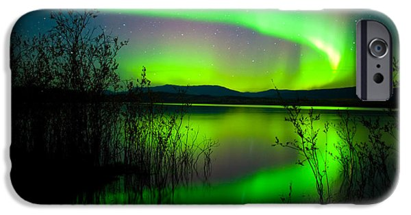 Recently Sold -  - Willow Lake iPhone Cases - Northern lights mirrored on lake iPhone Case by Stephan Pietzko