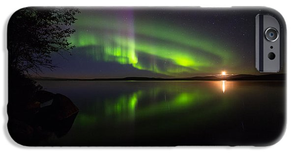 Lappi iPhone Cases - Northern lights over lake iPhone Case by Mikko Lonnberg